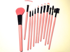 pink make-up brushes